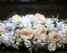 White Wedding Arch Flowers - Ivory and white Rose swag - Wedding swag - Summer floral swag - Wedding decorations - Wedding swag
