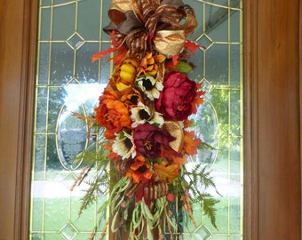 Fall door swag - Thanksgiving Door Swags - Door swags for Fall  - Autumn Wreaths - Teardrop swag - French Country Decor - Door Swags