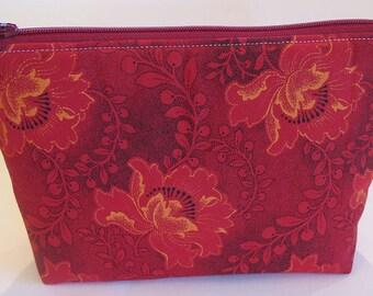 Red-Orange Flower Zipper Pouch