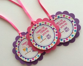 Favor Tags, 12 Girls Birthday Party Favor Tags - Gymnastics, Tumbling, - Girls Birthday Party Decorations, Girl Party Favors