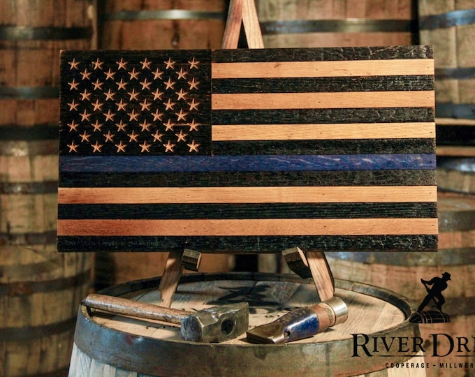 USA Thin Blue Line Support Series Whiskey Barrel Flag  - Proceeds Donated