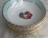 8 Antique French Porcelain Bowls Dessert Salad Dish White Teal Gilded Moulin des Loups Romantic Fragonard Style Couple #sophieladydeparis