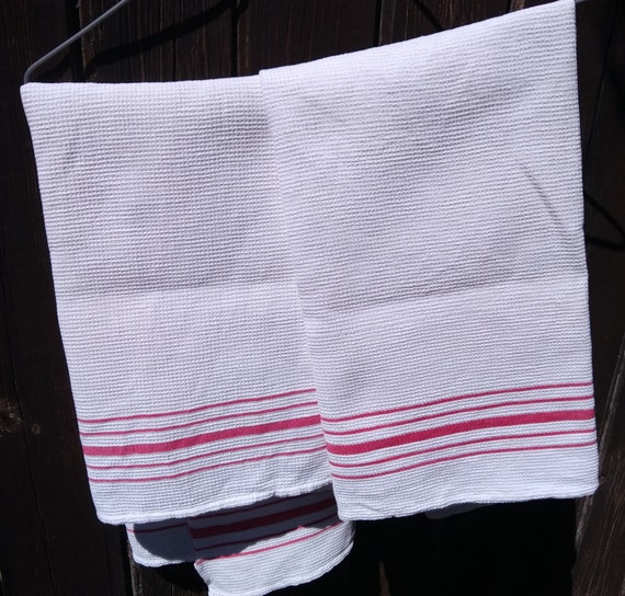 2 Antique White French Dish Cloth 1930's Waffle Cotton with Red Stripes #sophieladydeparis
