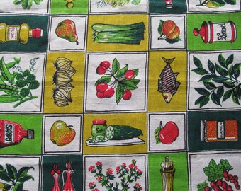 Summer Swedish Tablecloth 60's picnic with fruits, vegetables & fish