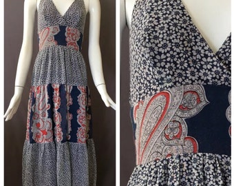 Young Innocents by Arpeja Paisley & Floral Print Halter Maxi Dress   Bohemian   Festival   XS