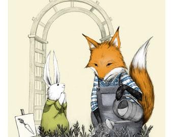 Fox Gardening - Print - Bunny Rabbit - Friendship - Carrots - Kindness