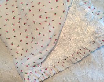 Beautiful White Satin Rosettes and Pink Rose Baby Blanket