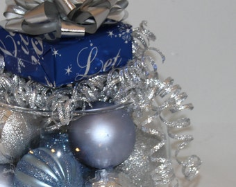 Christmas Centerpiece - Silver and Blue Holiday Decoration