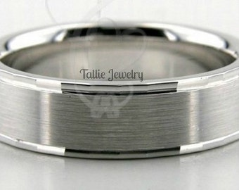 18K White Gold Wedding Band Ring  6MM Wide  Sizes 4-12  Free Engraving  New