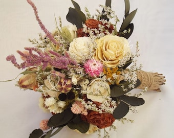 Wedding bouquet, bouquet of natural dried flowers,Dried rose flowers,folk bouquet,Country bouquet