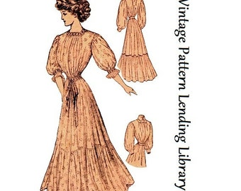 1908 Ladies House Dress or Wrapper - Reproduction Sewing Pattern #E2263