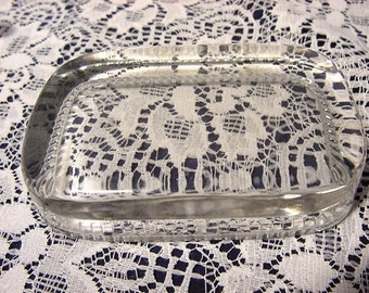 Vintage Glass Paperweight Office Desk Accessory Add Your Own Picture Business Card