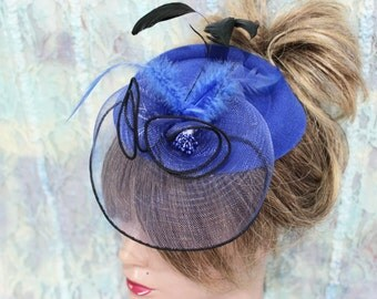 Royal blue hat, Blue fascinator, Blue headpiece, Wedding fascinator, Race day hats, Dark blue fascinator, Cobalt blue bridal headwear