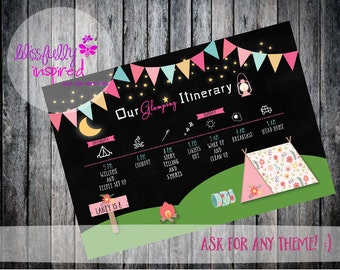 Glamping Birthday Itinerary / Party Printable Party Decorations/ Printable Party Package/ Glam Camping Decor/ Birthday Printables