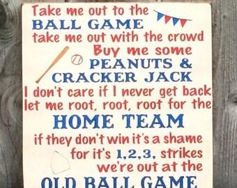 Take Me Out to the Ballgame Sign, Nursery Decor, Baby Boy Sign,Baseball Sign