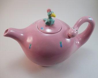 Vintage Fitz & Floyd Dinosaur Teapot Dated 1986 Ceramic Pink Dinosaur and Turquoise Bird Teapot Flintstones Dino The Snorkasaurus Dinosaur