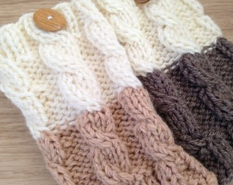 Knitted Boot cuffs Ivory with Gold, Ivory and Brown Knit Boot Cuffs Leg Warmers Boot Toppers Knit Boot Socks Ready to ship