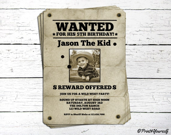 Wanted Invite // Personalized Printable Vintage Wanted Poster Photo ...