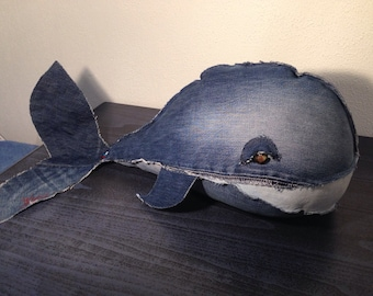 Denim whale, upcycled jeans, stuffed toy, blue whale, soft toy.