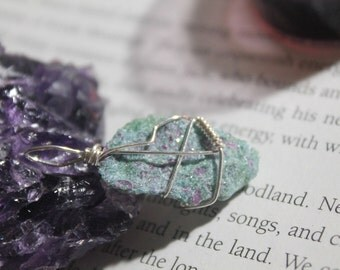 Wire wrapped Ruby in Fuchsite silver plated pendant