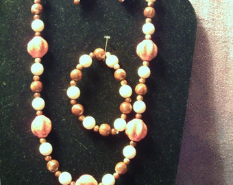 RED BROWN and PINK Jewelry Set