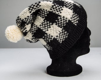 Hand knit hat - black and white plaid - wool hat with pom-pom