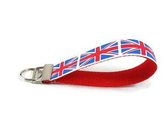 Union Jack key fob, England key chain, wristlet keychain, Fabric Wristlet, Key Ring