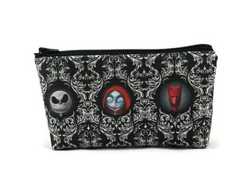 Jack Skellington Zipper Pouch, Makeup Bag, Tampon Case, Toiletry Bag,  Glam Bag, Makeup Bag,  Nightmare Before Christmas, Coin Purse
