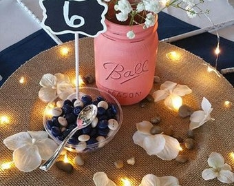 Burlap Charger Plate with Firefly Lights Rustic Wedding Centerpiece - Holiday Party Table Home Decor