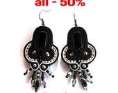 BLACK & SILVER soutache earrings, HANDICRAFT