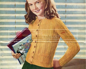 Girl's Jumper Cardigan 10 years Chunky Sirdar 1311 Knitting Pattern PDF instant download