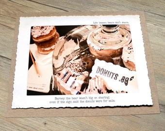 11x14 Miniature Bear Wall Art Print • Humorous Print • Donut Art •  Witty Kitchen Decor • Gifts Under 20 • Woodland Animal Print • Food Art