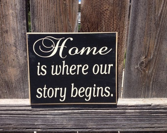 Home is where our story begins wood sign-Inspirational quote