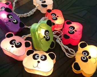 handmade Cutie Panda mulberry paper Lanterns for wedding party decoration (20 bulbs)