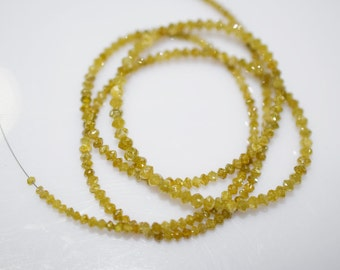 17.75 ct very beautiful DARK YELLOW DIAMOND Rondelle Faceted Beads 1.50 to 3 mm, Natural Yellow Diamond Beads 16 inch strand D-11