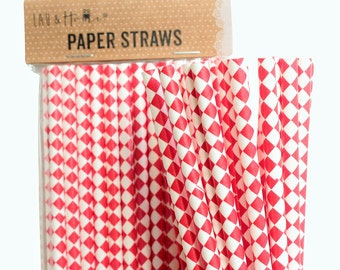 Red Squares Retro Drinking Paper Straws for Birthday / Party / Wedding