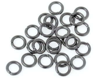 "Iron Based Alloy Open Jump Rings Findings Round Gunmetal 5mm( 2/8"") Dia, 1000 PCs"