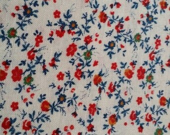 """Vintage Concord Fabric ~ Quilt ~ Cotton Calico ~ Red Blue Green Tan ~ 45"""" wide"""
