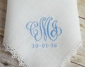Monogrammed Handkerchief Wedding Mother of the Bride Keepsake Baptism Christening  Bouquet Wrap Mother of the Bride Keepsake Baptism