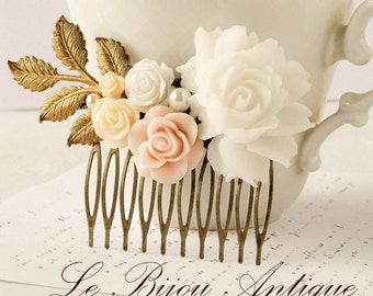 Flowers Hair comb Bridal White Ivory Roses blush bronze Leaves Branches Hair accessory Pink Hair comb wedding hair fascinator
