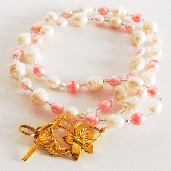 CULTURED FRESHWATER PEARL Necklace Pink + White