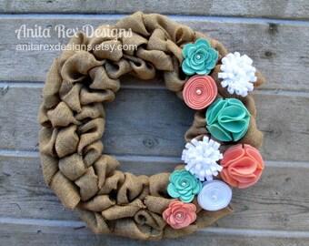 Mint, Coral Burlap Wreath, Spring Wreath, Summer Wreath, Burlap Wreath, Burlap Bubble Wreath