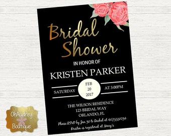 Gold With Roses Bridal Shower Invitation