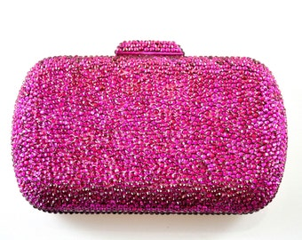 Swarovski ELEMENTS Ruby Fuchsia Pink rectangle square shape Rhinestone Crystal Metal case box clutch minaudiere bag purse