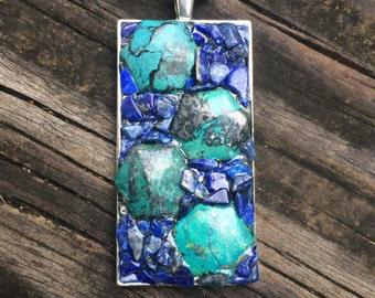 Chrysocolla & blue Lapis Lazuli stone handmade metaphysical pendant gypsy fairy hippie pagan bohemian magick new age earth jewelry