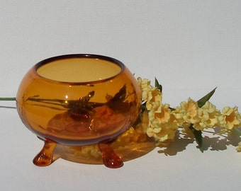 Vintage Amber Glass Three Legged Dish