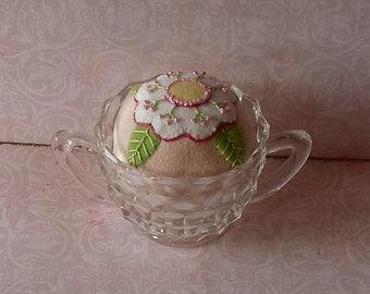 Handmade Pincushion Felted Wool White Flower on a Pink Pincushion in Vintage Sugar Bowl