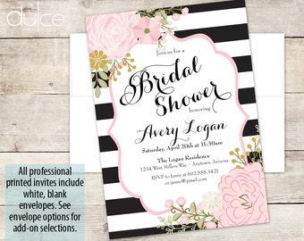 Striped Bridal Shower Invitation, Black and White Strips, Peony