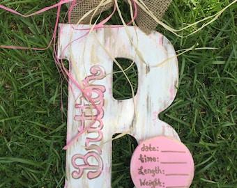 Birth announcement door hanger/ hospital door hanger/ nursery door hanger / letter B door hanger / baby shower gift, nursery door hanger