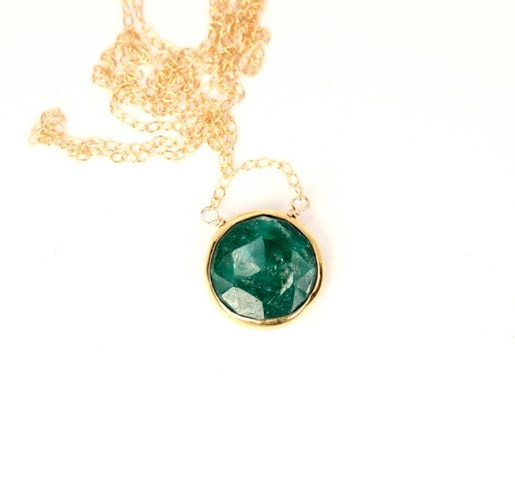 Green emerald necklace - gemstone necklace - may birthstone - anniversary necklace - a gold bezel set emerald on a 14k gold vermeil chain